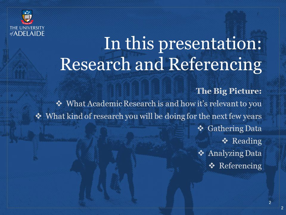 In this presentation: Research and Referencing