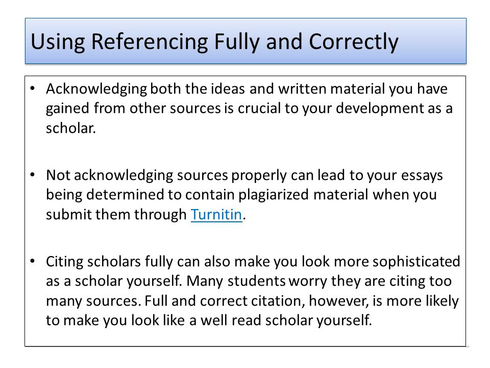 Using Referencing Fully and Correctly