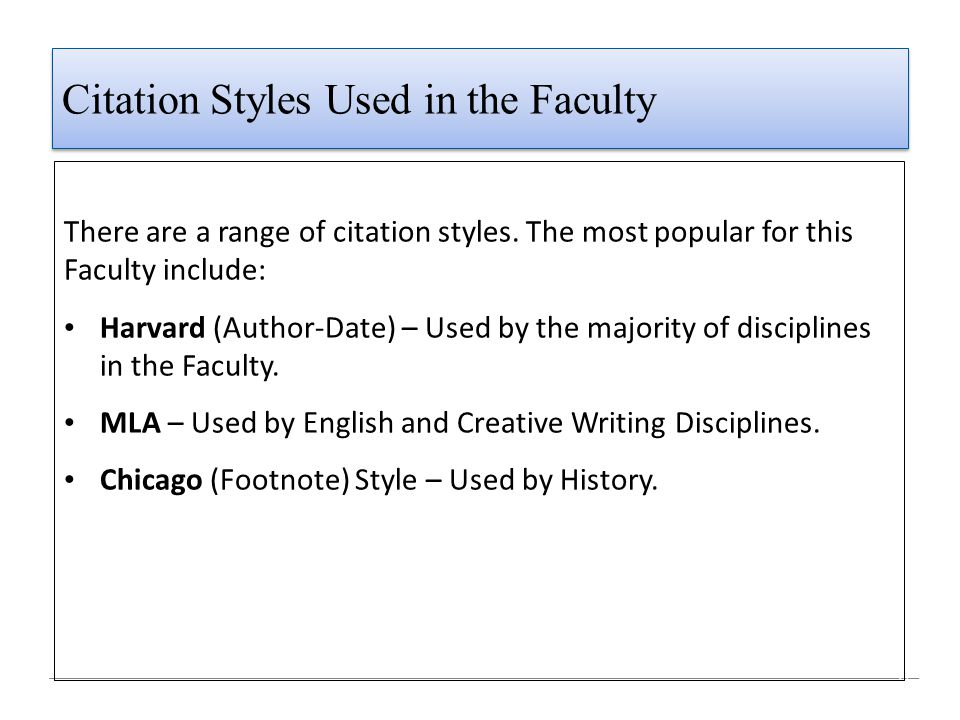 Citation Styles Used in the Faculty