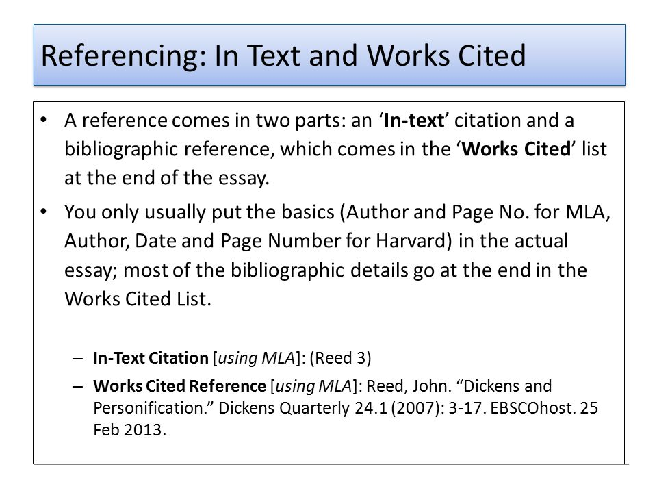 Referencing: In Text and Works Cited