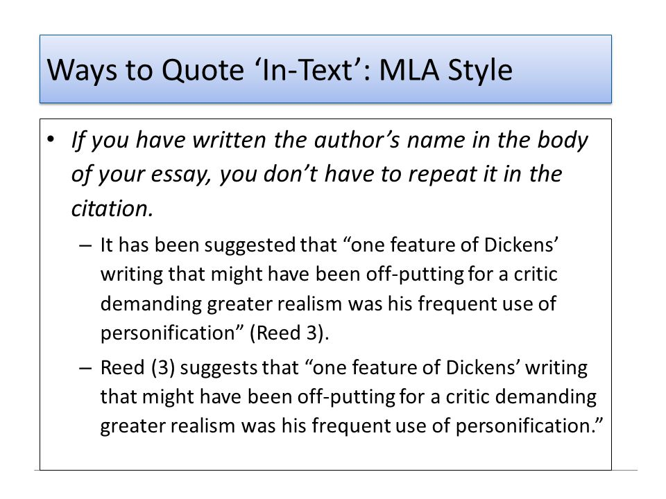 Ways to Quote 'In-Text': MLA Style