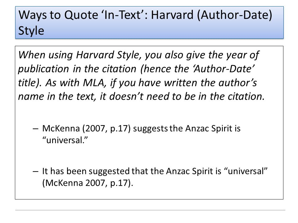 Ways to Quote 'In-Text': Harvard (Author-Date) Style