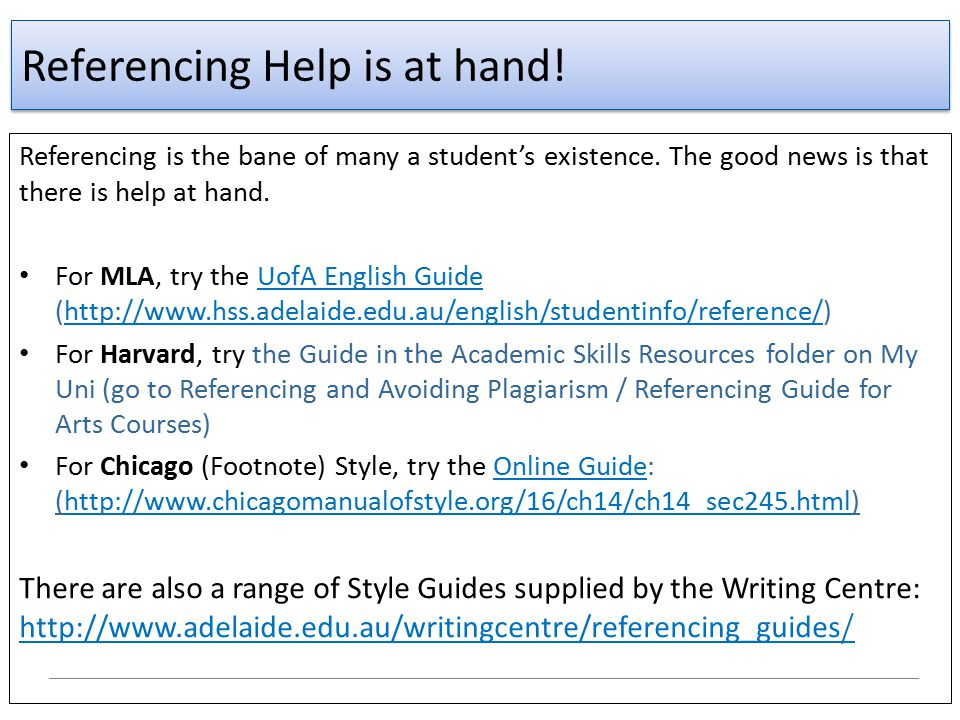 Referencing Help is at hand!