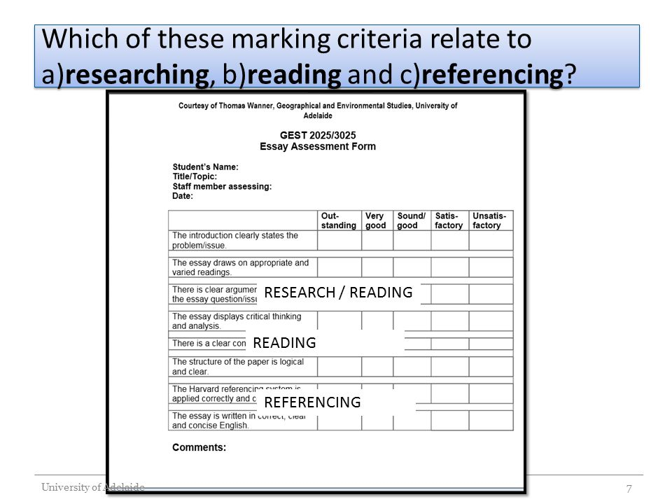 Which of these marking criteria relate to a)researching, b)reading and c)referencing