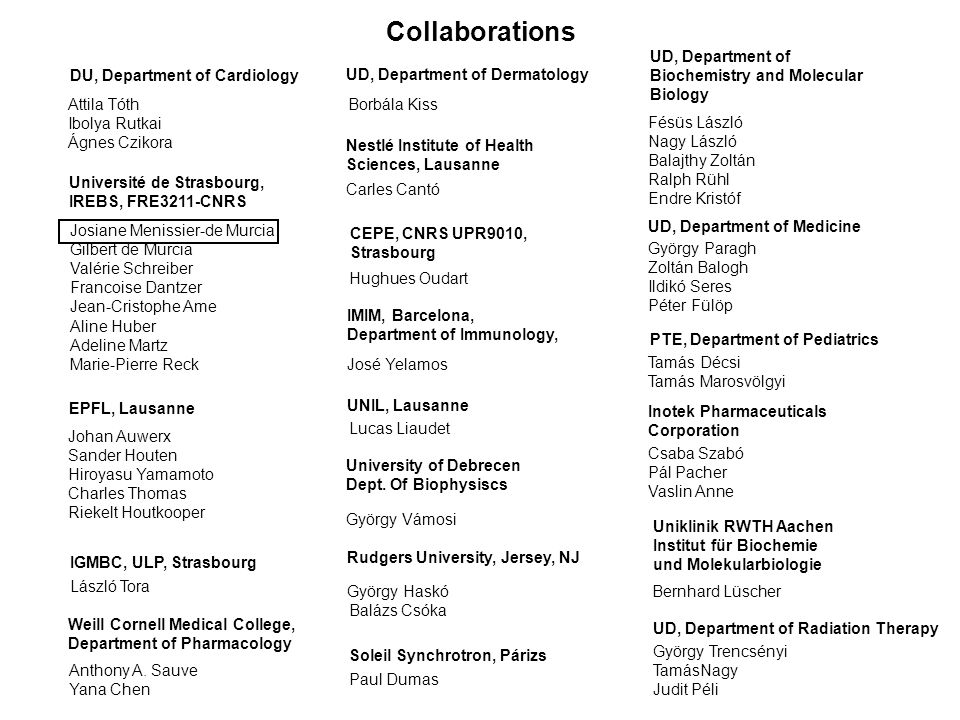 Collaborations UD, Department of Biochemistry and Molecular Biology