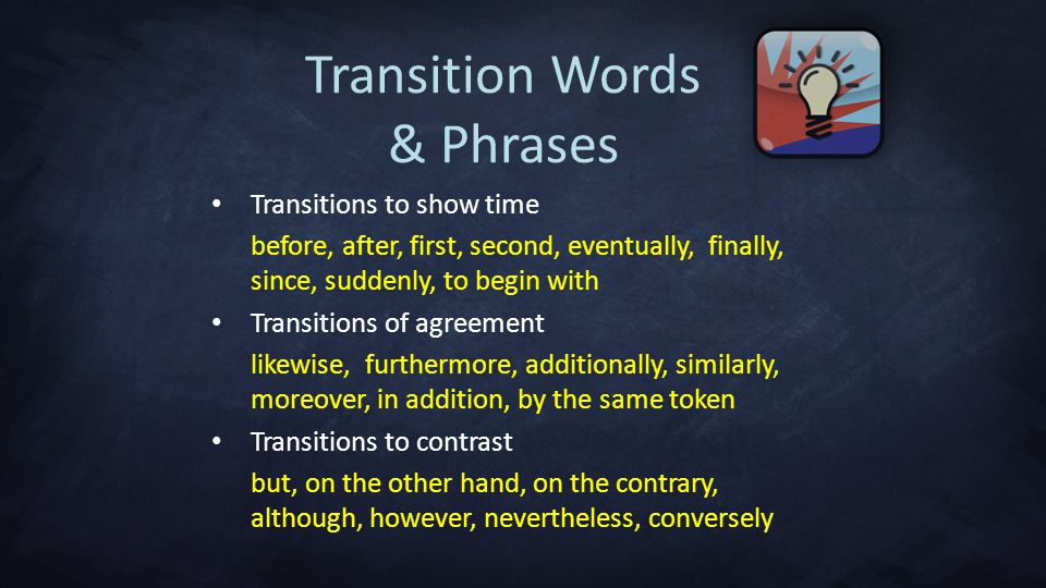 transition words and phrases agreement