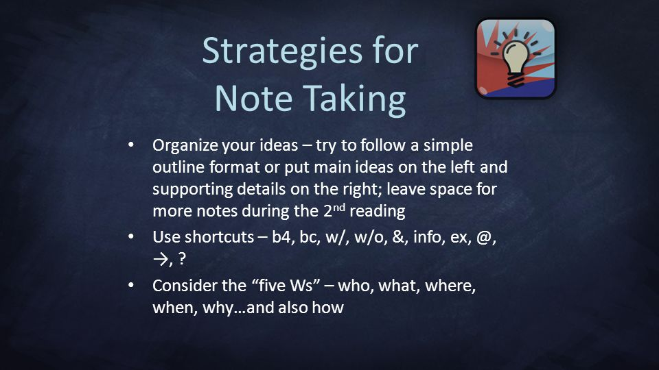 Strategies for Note Taking