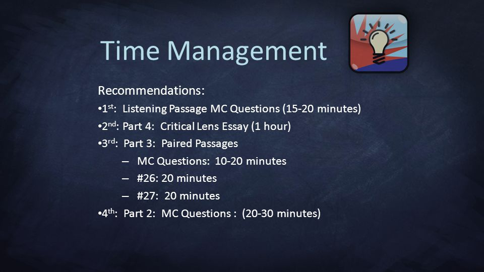Time Management Recommendations: