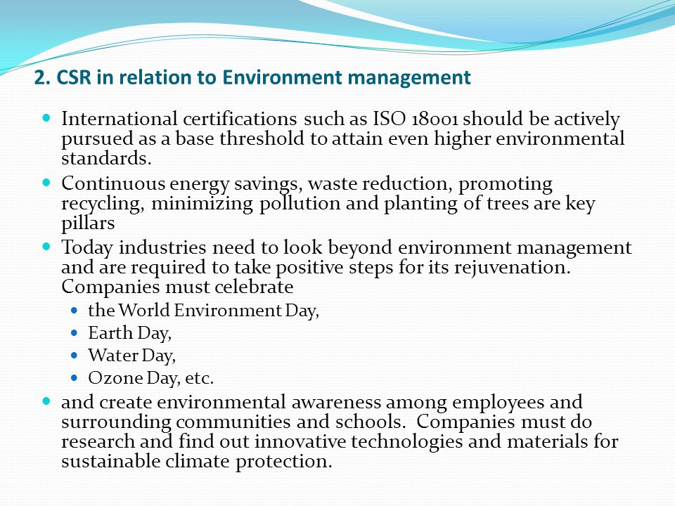 2. CSR in relation to Environment management