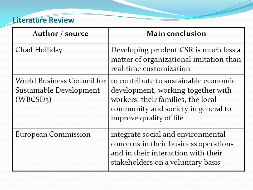 Literature Review Author / source Main conclusion Chad Holliday