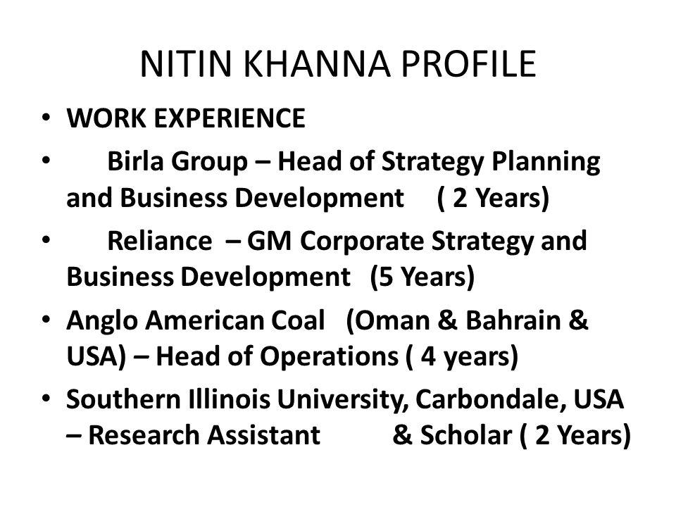 NITIN KHANNA PROFILE WORK EXPERIENCE