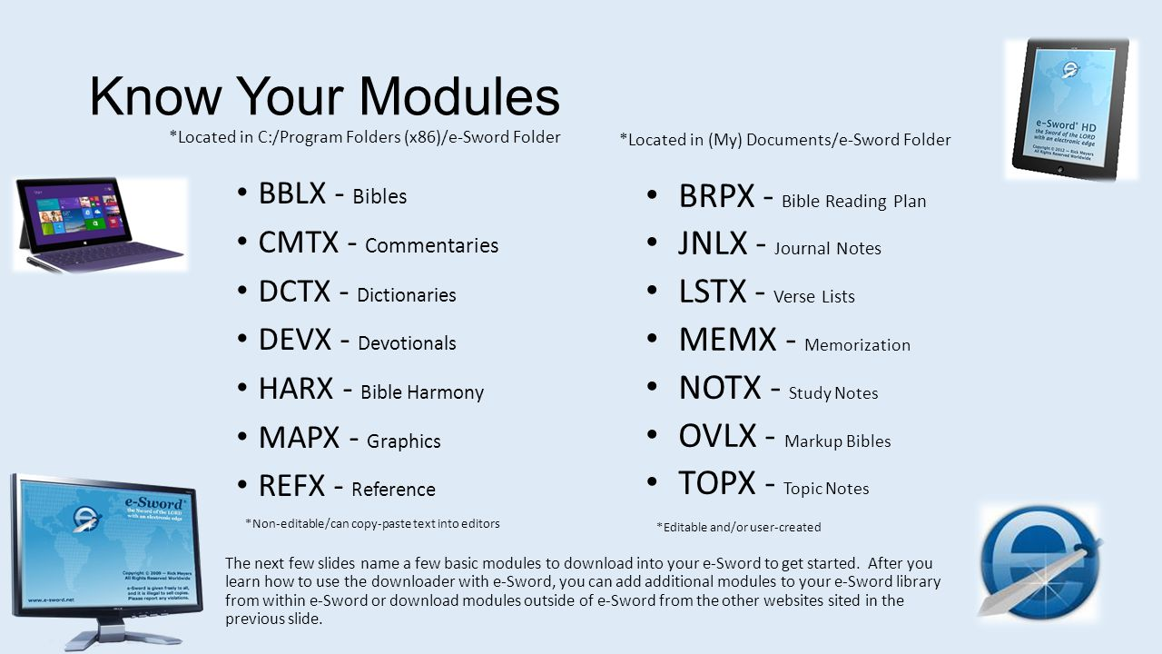 Know Your Modules BRPX - Bible Reading Plan JNLX - Journal Notes