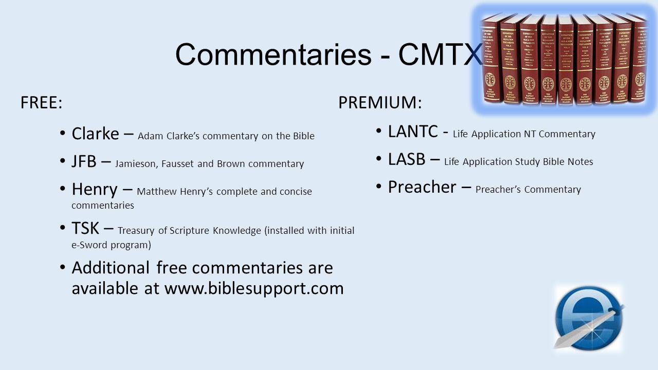 Commentaries - CMTX FREE: PREMIUM: