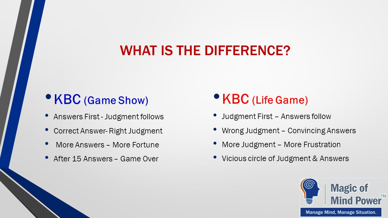 WHAT IS THE DIFFERENCE KBC (Game Show) KBC (Life Game)