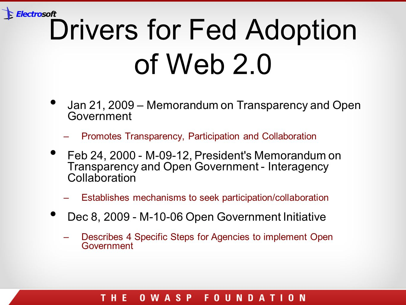 Drivers for Fed Adoption of Web 2.0