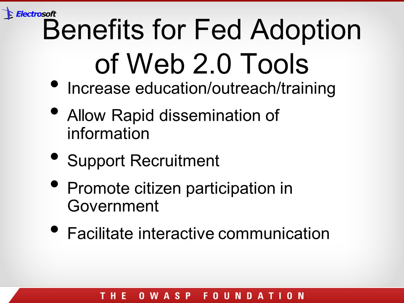 Benefits for Fed Adoption of Web 2.0 Tools
