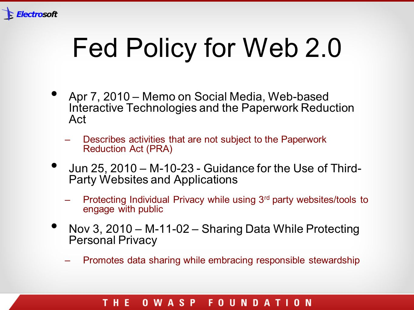 Fed Policy for Web 2.0 Apr 7, 2010 – Memo on Social Media, Web-based Interactive Technologies and the Paperwork Reduction Act.