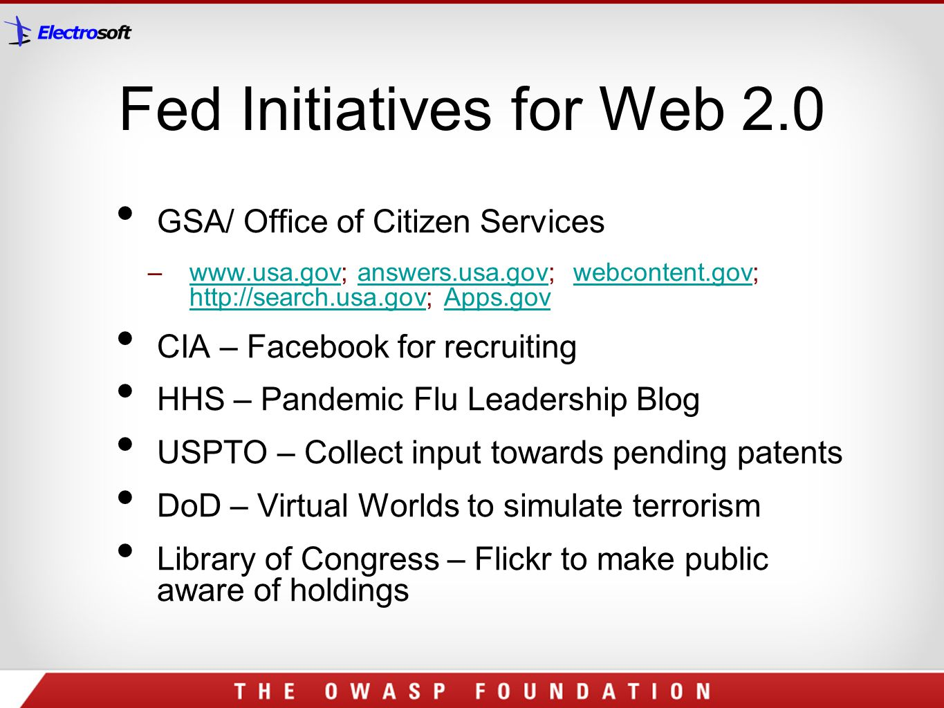 Fed Initiatives for Web 2.0