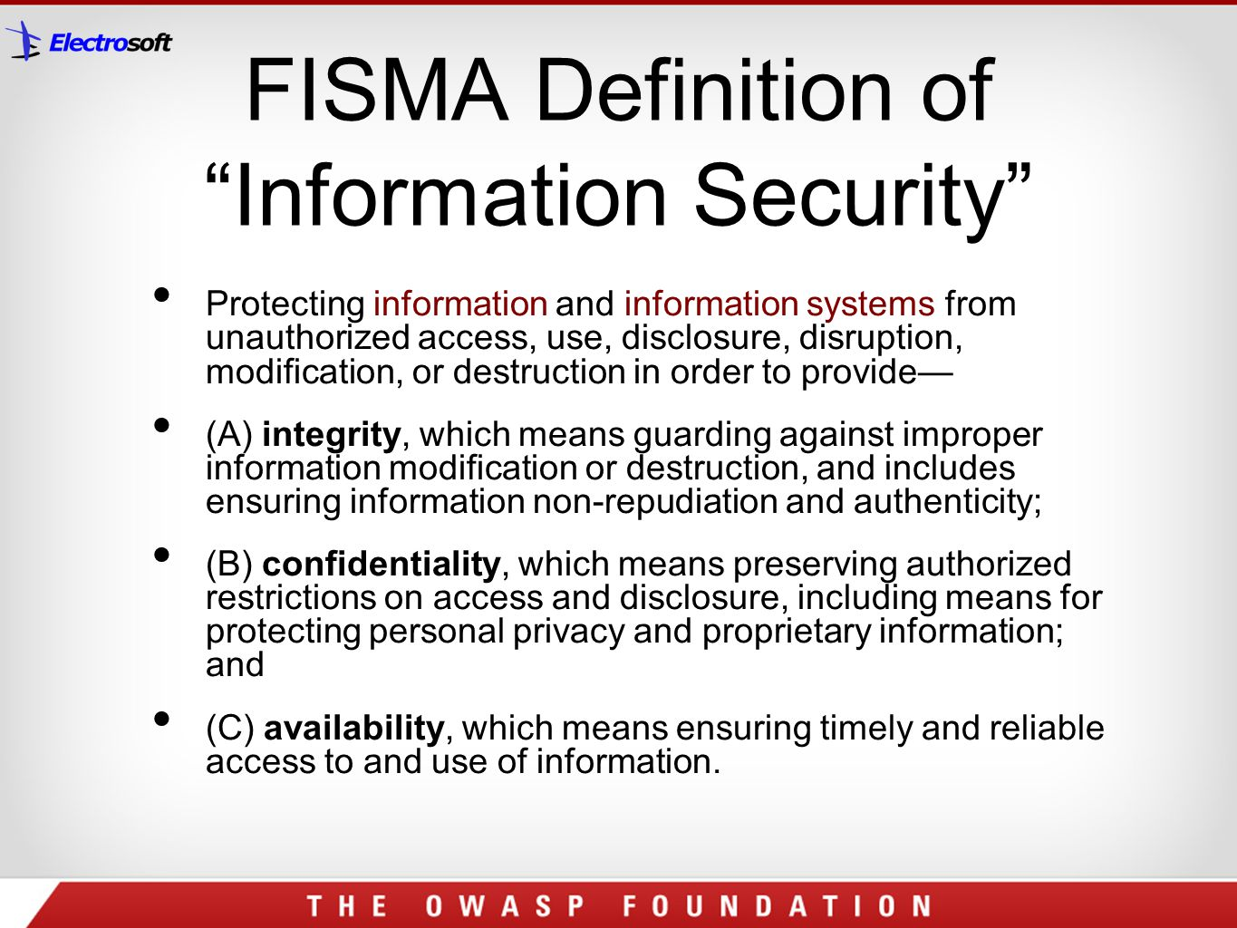 FISMA Definition of Information Security