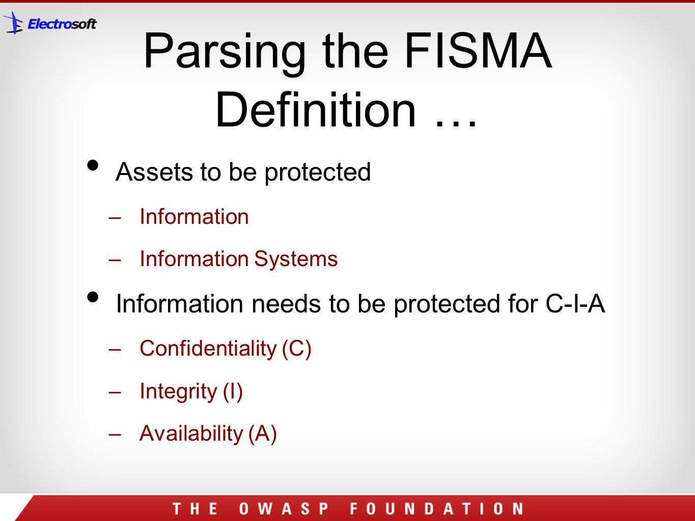 Parsing the FISMA Definition …