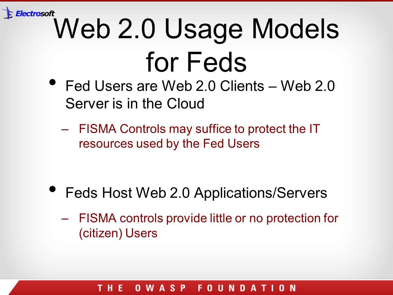 Web 2.0 Usage Models for Feds