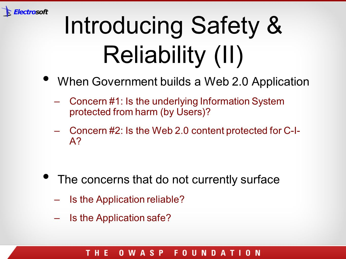 Introducing Safety & Reliability (II)