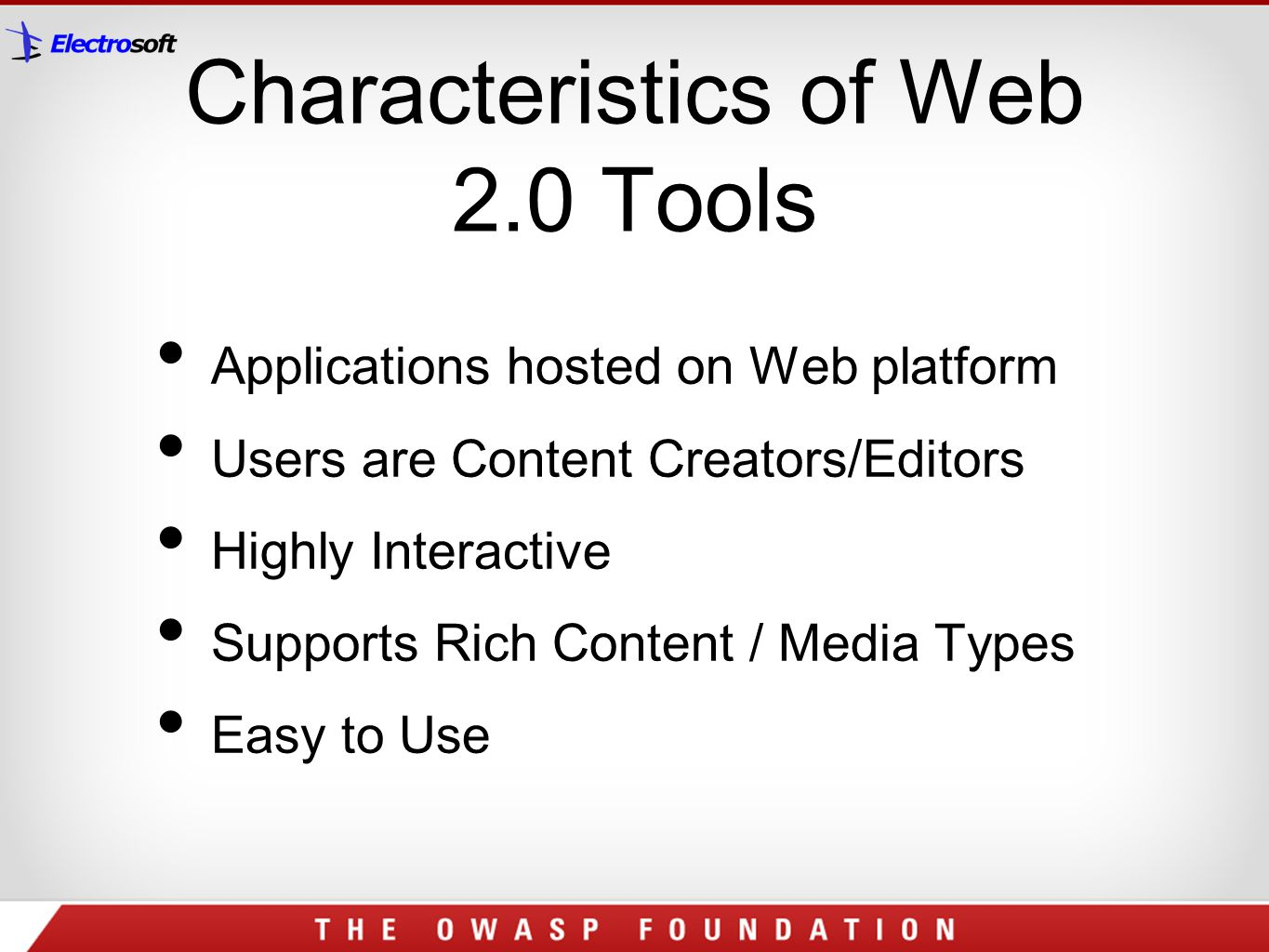 Characteristics of Web 2.0 Tools