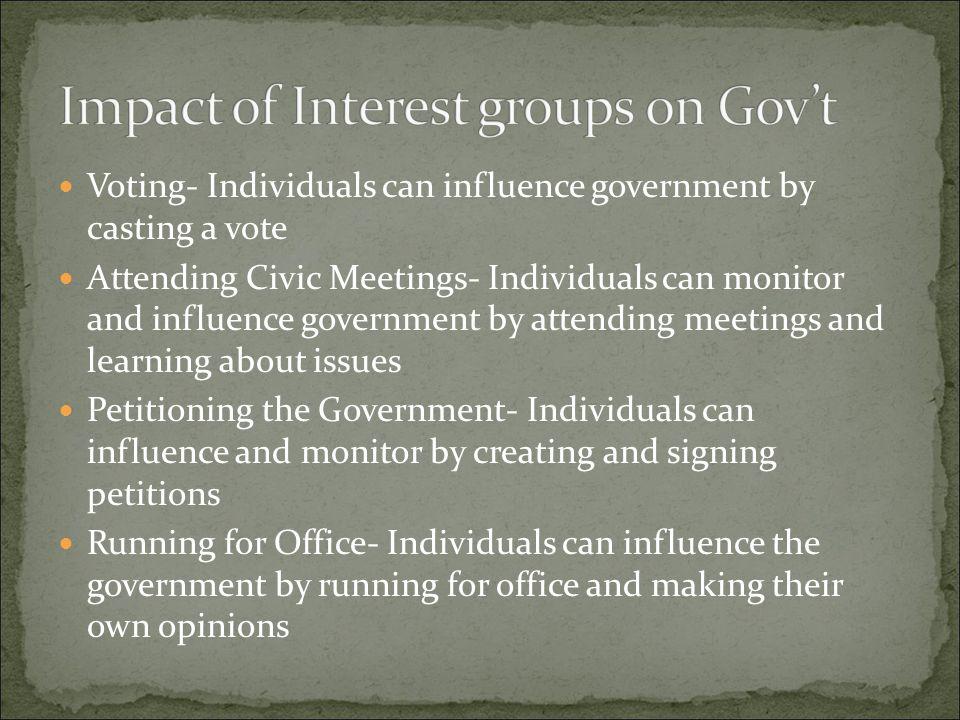 Impact of Interest groups on Gov't