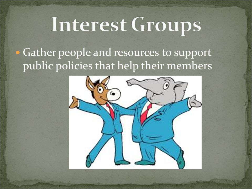 Interest Groups Gather people and resources to support public policies that help their members