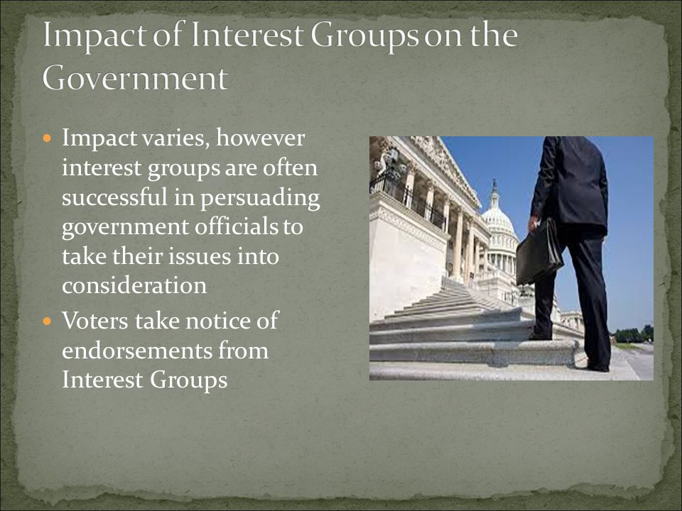 Impact of Interest Groups on the Government