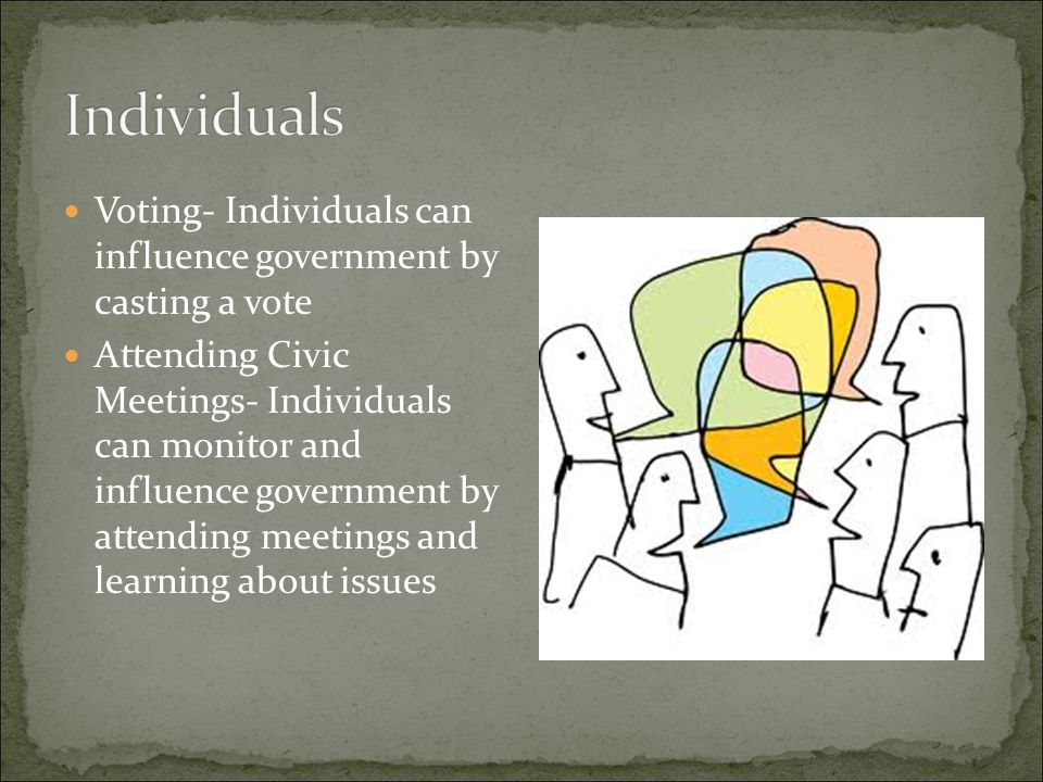 Individuals Voting- Individuals can influence government by casting a vote.