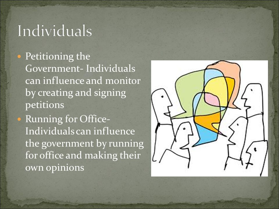 Individuals Petitioning the Government- Individuals can influence and monitor by creating and signing petitions.