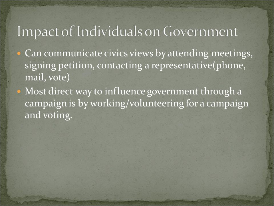 Impact of Individuals on Government