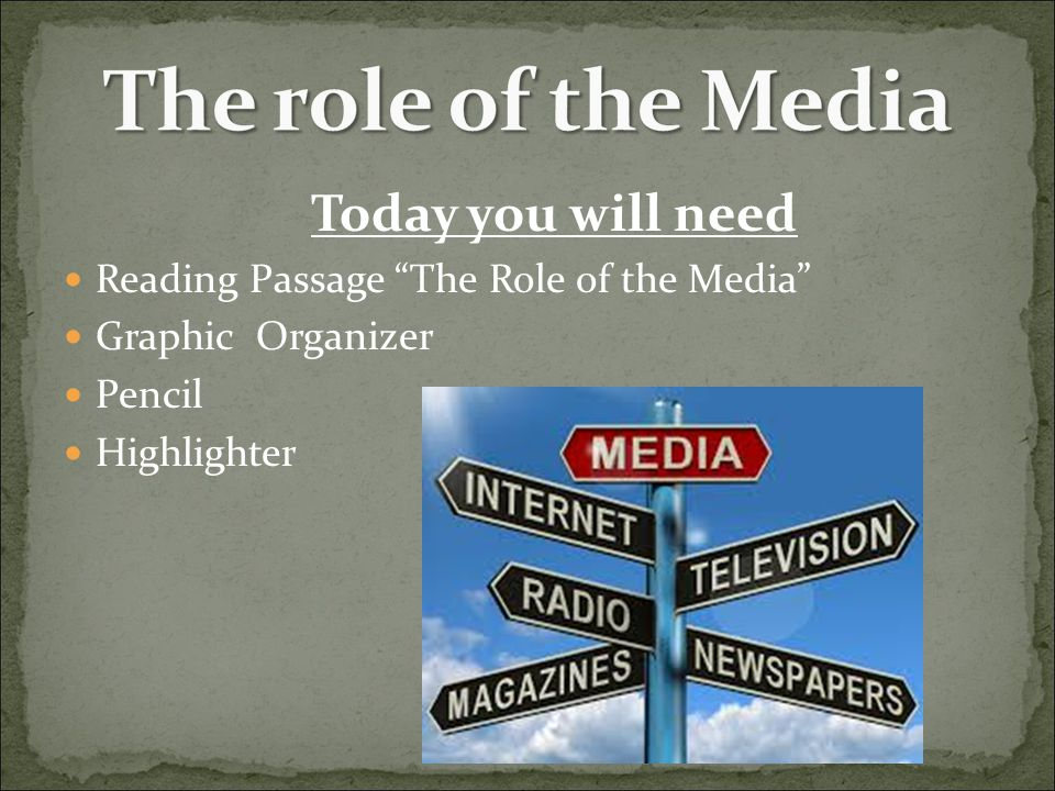 The role of the Media Today you will need