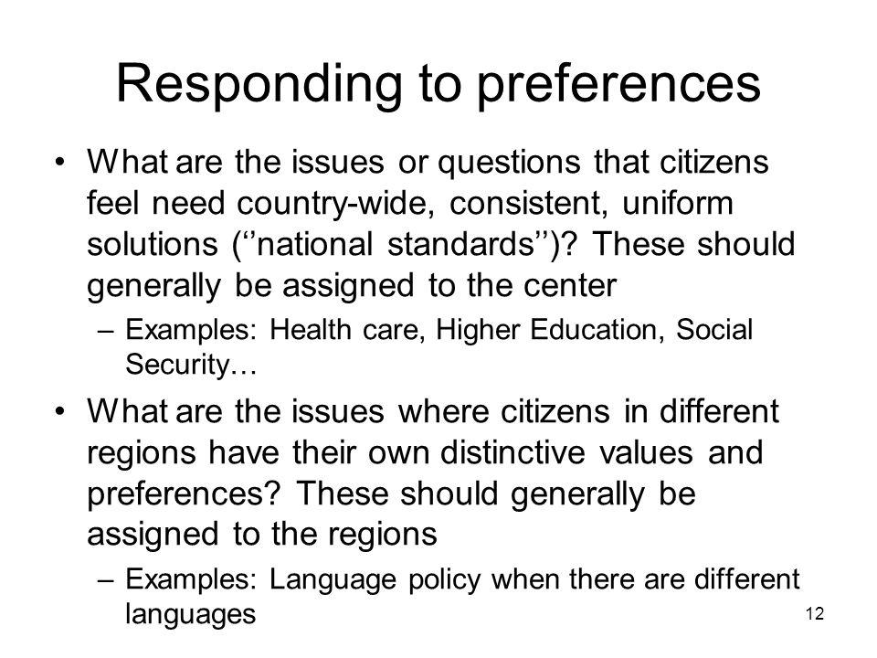 Responding to preferences