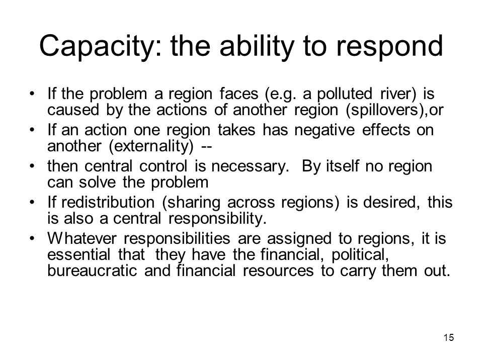 Capacity: the ability to respond