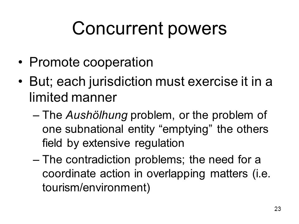 Concurrent powers Promote cooperation