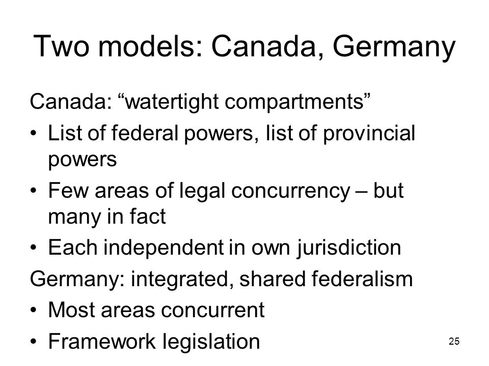 Two models: Canada, Germany