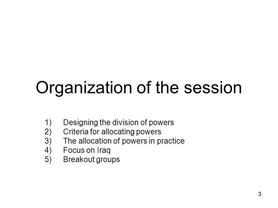 Organization of the session