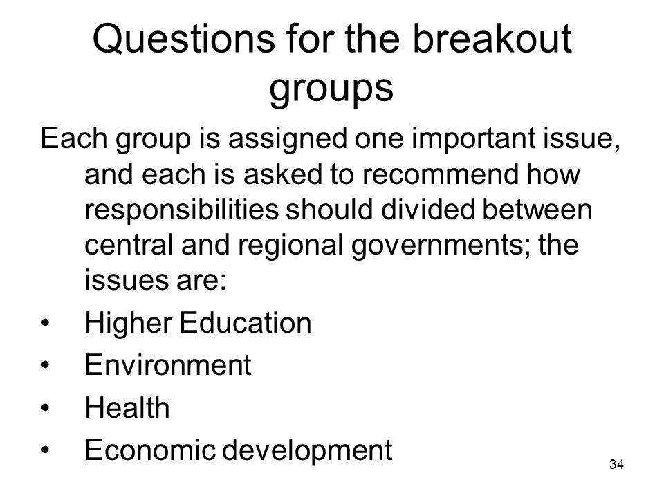 Questions for the breakout groups