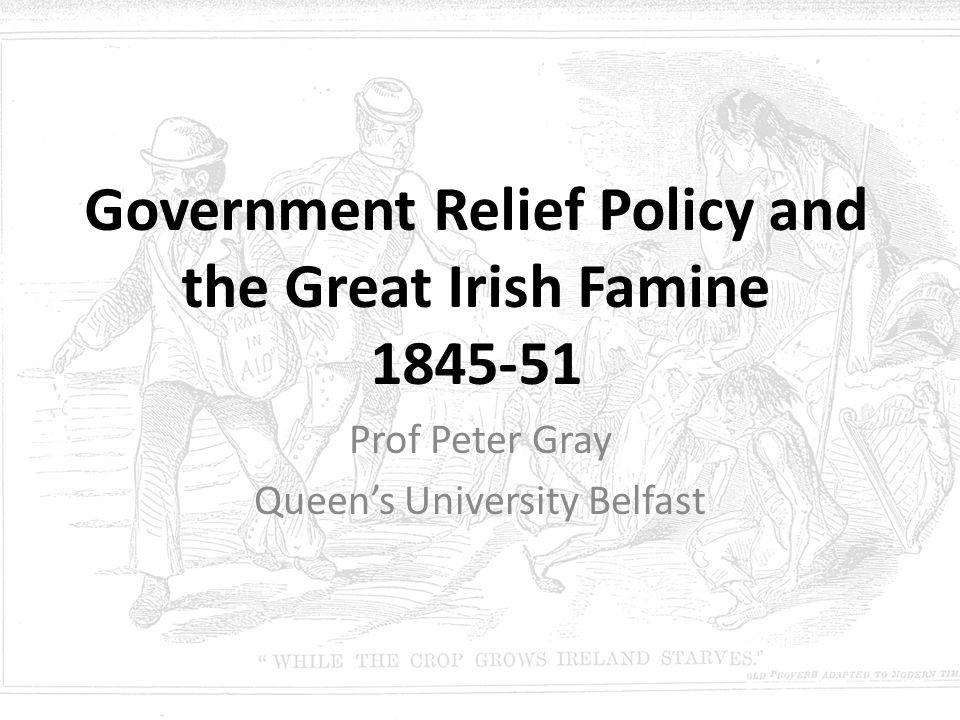 Government Relief Policy and the Great Irish Famine 1845-51