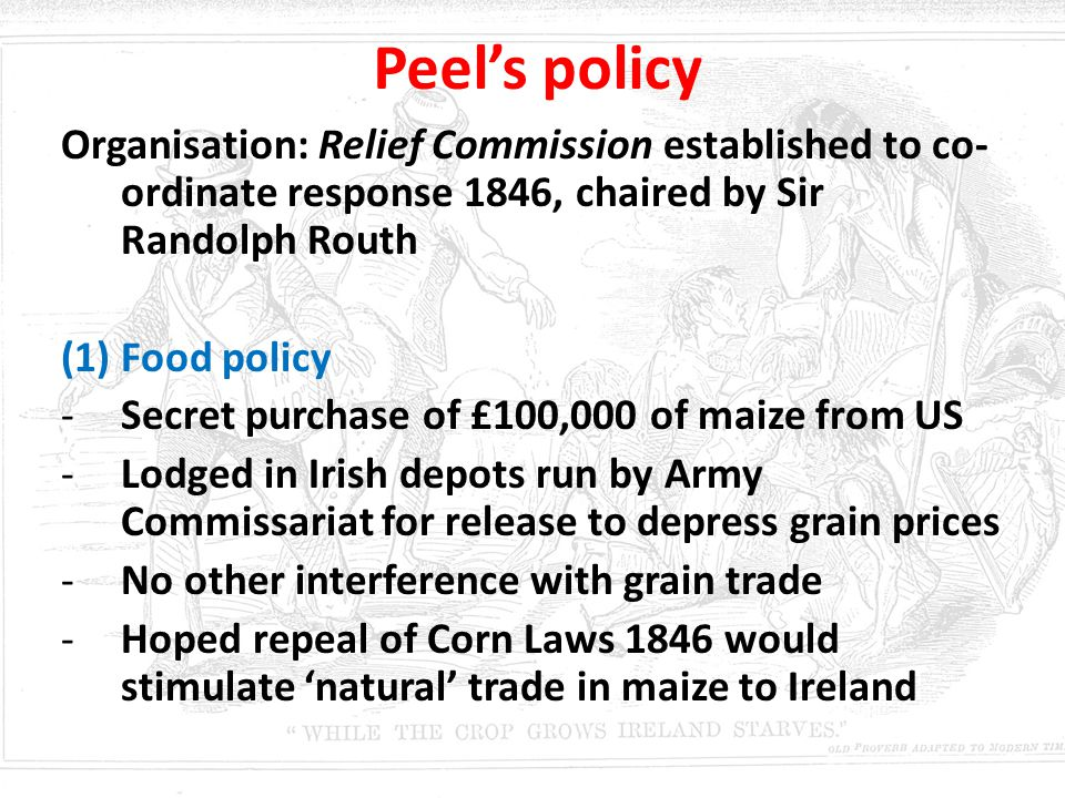 Peel's policy Organisation: Relief Commission established to co-ordinate response 1846, chaired by Sir Randolph Routh.