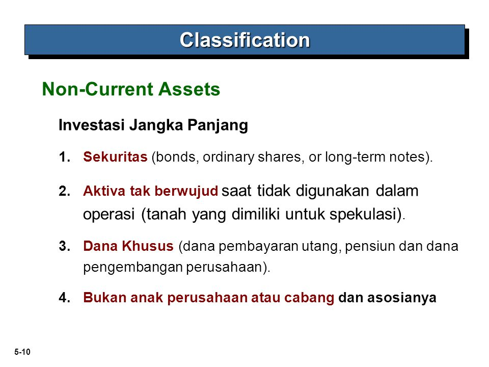 Classification Non-Current Assets Investasi Jangka Panjang