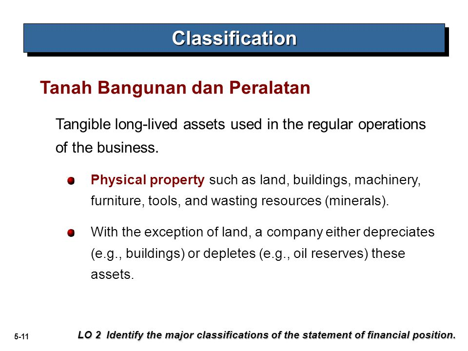 Classification Tanah Bangunan dan Peralatan