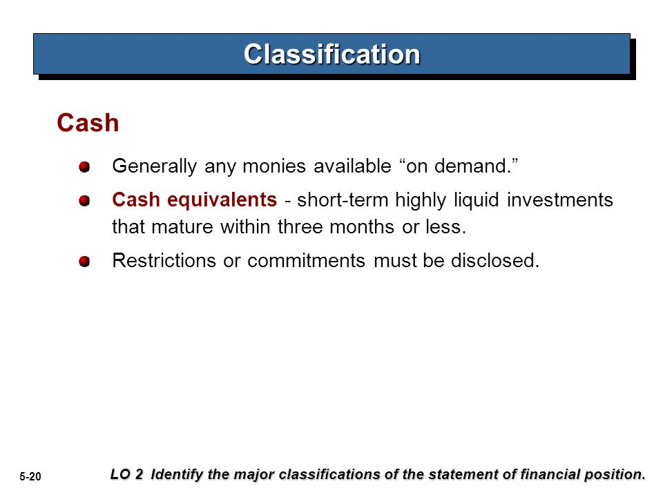 Classification Cash Generally any monies available on demand.