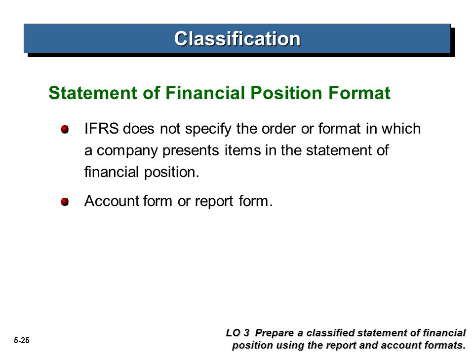 Classification Statement of Financial Position Format