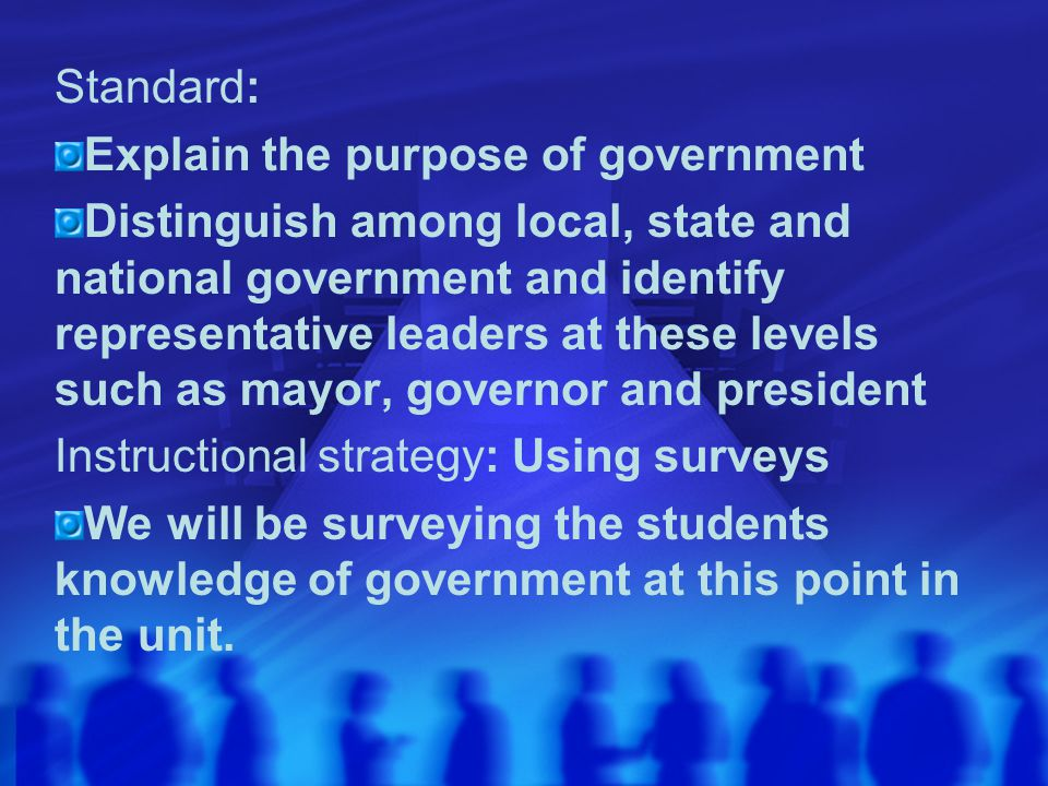 Standard: Explain the purpose of government.