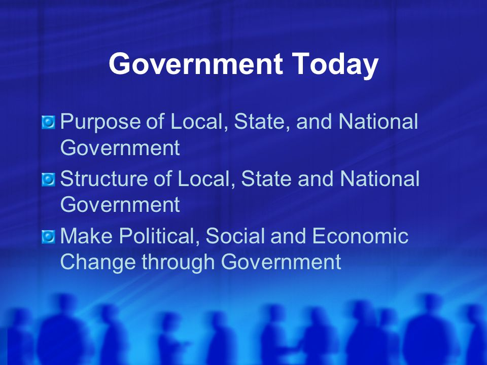 Government Today Purpose of Local, State, and National Government
