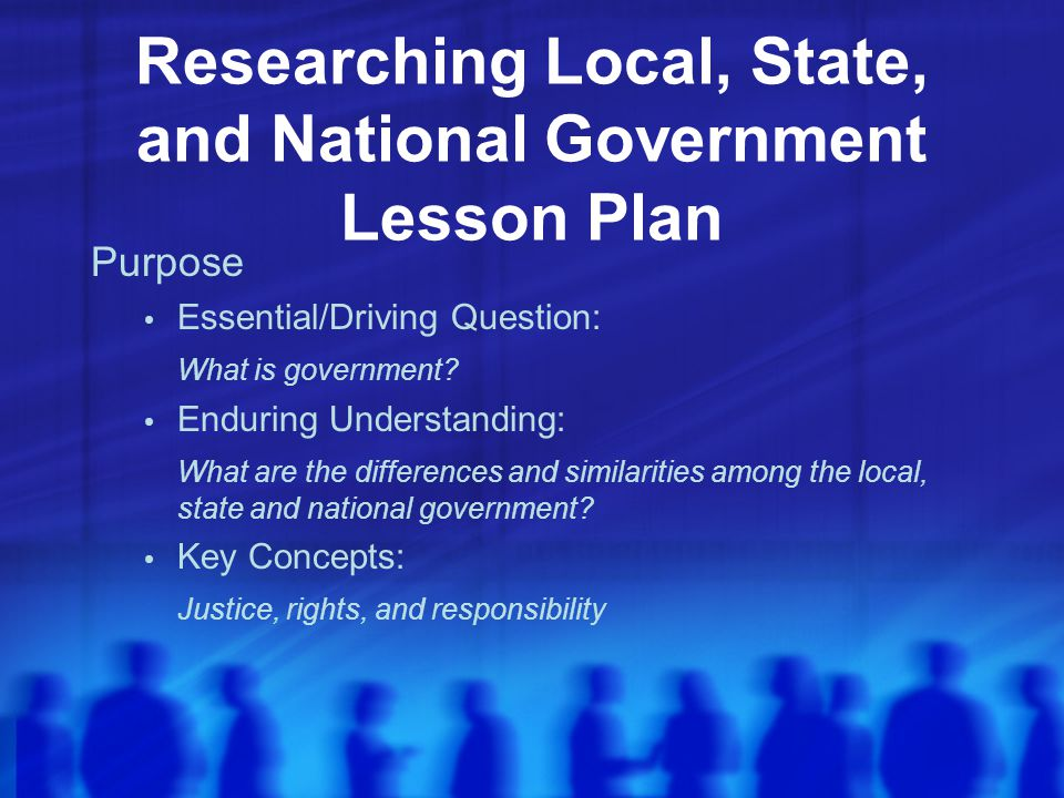 Researching Local, State, and National Government Lesson Plan