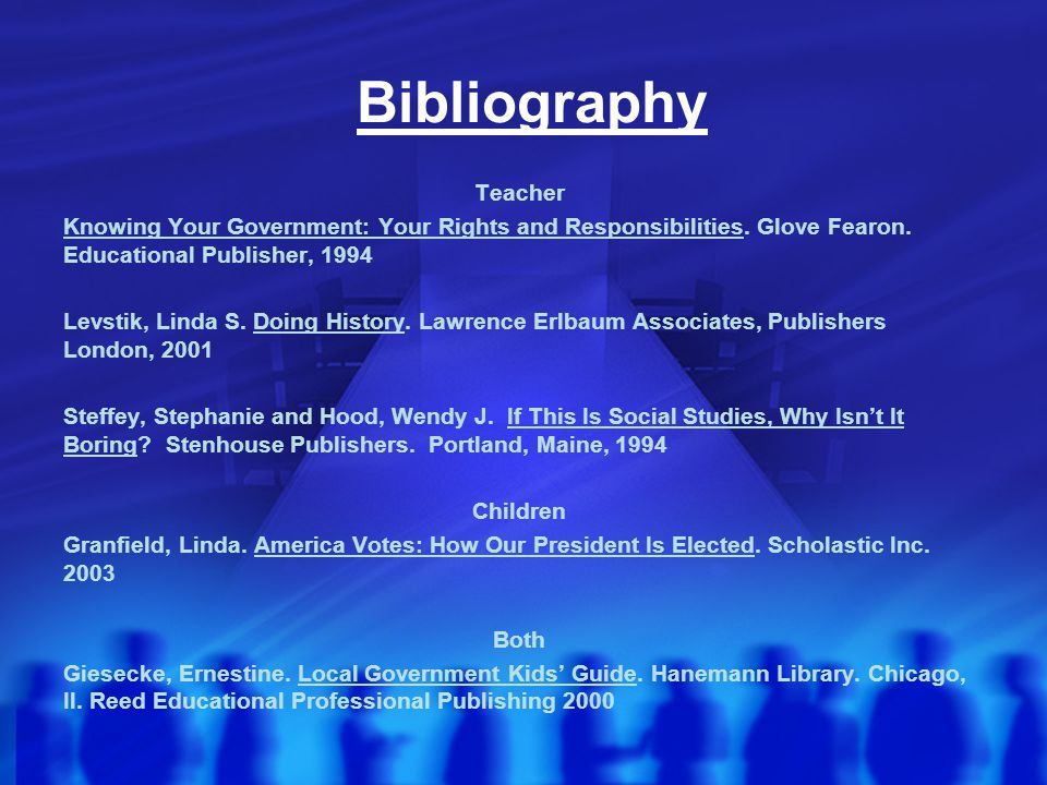 Bibliography Teacher. Knowing Your Government: Your Rights and Responsibilities. Glove Fearon. Educational Publisher, 1994.